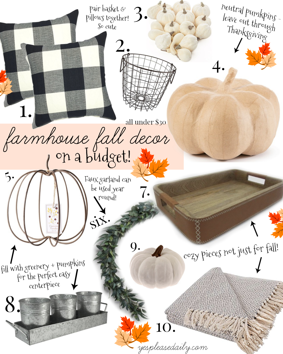 fall decorations collage